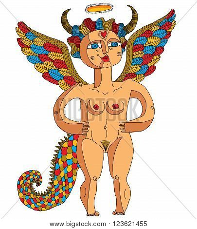 Vector Illustration Of Bizarre Creature, Nude Woman With Wings, Animal Side Of Human Being. Goddess