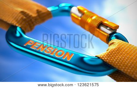 Strong Connection between Blue Carabiner and Two Orange Ropes Symbolizing the Pension. Selective Focus. 3D Render.