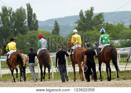 PYATIGORSK, RUSSIA - MAY 27, 2012:Before horse racing unknown grooms and jockeys output horses to race Derby prize in Pyatigorsk,Caucasus,Russia on May 27,2012.