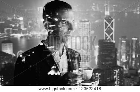 Photo of stylish adult businessman wearing trendy suit and holding cup coffee. Double exposure, panoramic view contemporary city sunset.