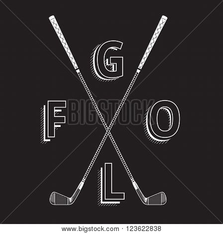 Black and white golf logo made with clubs. Golf iron clubs in graphic style. Golf element made with chalk on black background
