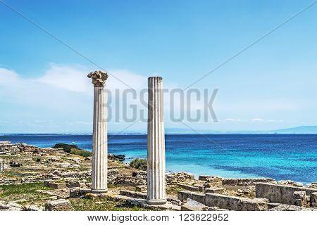 Tharros columns on a clear day Sardinia