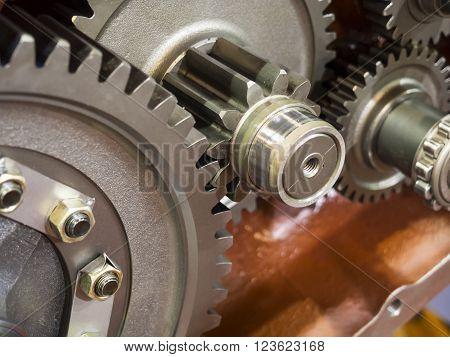 high precision automotive gear box inside close-up