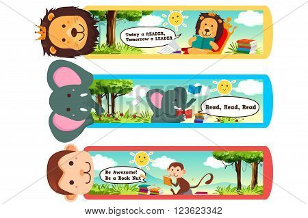 A vector illustration of animal themed bookmarks