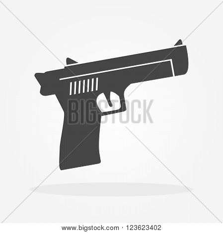 gun icon in grey colors for web or print