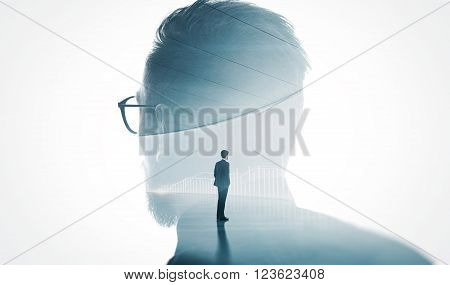 Photo of stylish bearded  banker wearing glass isolated white. Double exposure stylish adult businessman wearing trendy suit and looking diagram background. Isolated white.