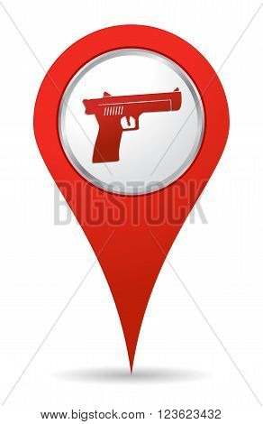 location gun icon in red color for map