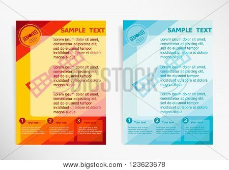 Satellite Icon On Abstract Vector Modern Flyer