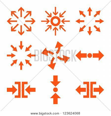 Compress and Explode Arrows vector icon set. Collection style is orange flat symbols on a white background.