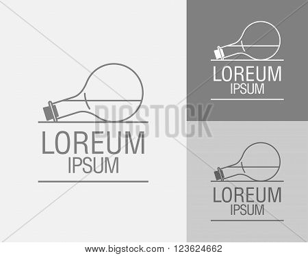Vector sign template. Cans flasks. Logo of the chemical laboratory of the research center a pharmaceutical laboratory. Medication