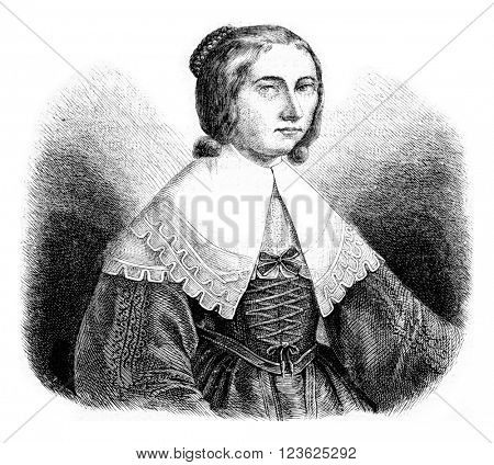 Anna Schurman portrait painted by herself, vintage engraved illustration. Magasin Pittoresque 1873.