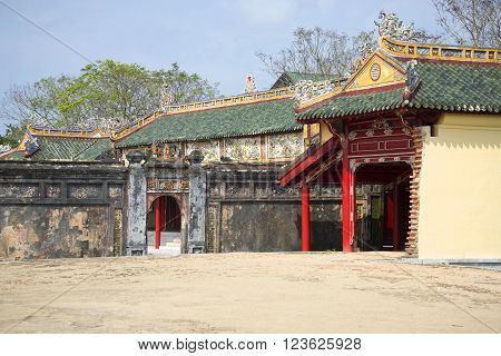 A fragment of the Palace buildings of the Imperial forbidden purple city. Hue, Vietnam