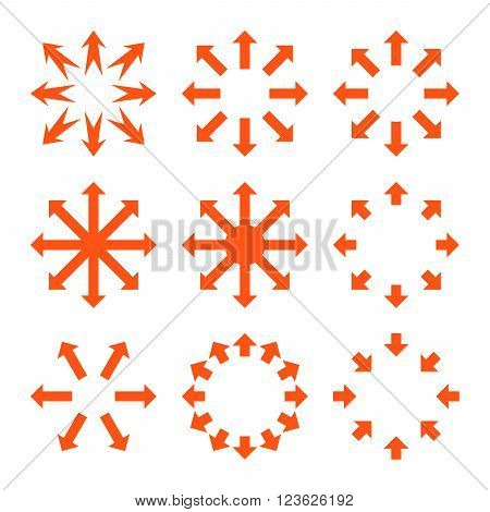 Maximize Arrows vector icon set. Collection style is orange flat symbols on a white background.