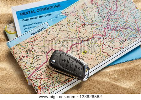 Car Remote Key On Map And Rental Agreement