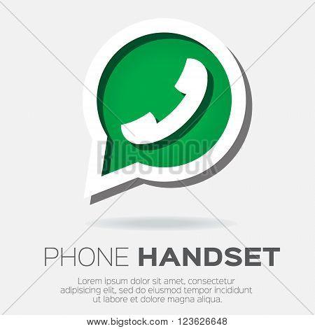 Telephone handset in speech bubble vector icon - green version.