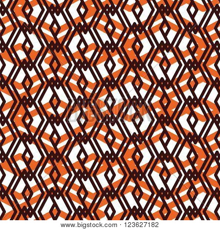 Orange overlay abstract seamless pattern with interweave lines. Vector ornament. Endless decorative background visual effect geometric tracery with rhombs.
