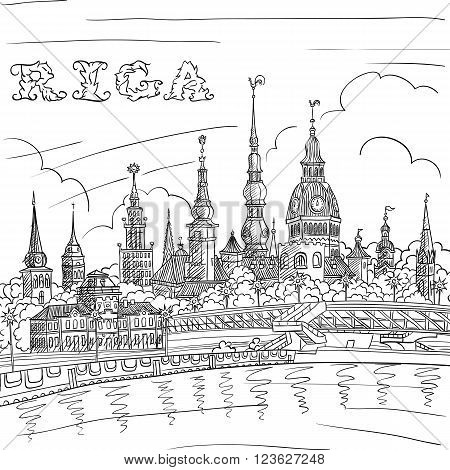 Vector Black and white hand drawing, sketch of Old Town and River Daugava, Riga, Latvia