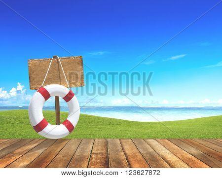 Buoy Placard Boardwalk Sea Ocean Field Sky SIgn Concept