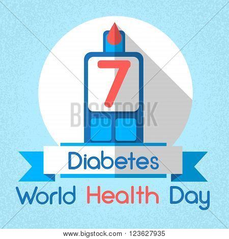 Blood Drop From Glucose Level Glucometer Diabetes World Health Day 7 April Holiday Banner Flat Vector Illustration