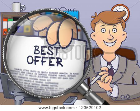Businessman in Suit Looking at Camera and Holding a Paper with Concept Best Offer through Magnifying Glass. Closeup View. Multicolor Doodle Illustration.