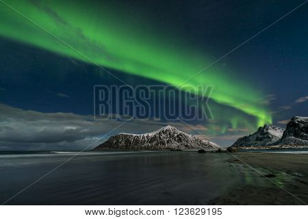 Aurora borealis the Northern Lights Lofoten Islands Norway March 2016