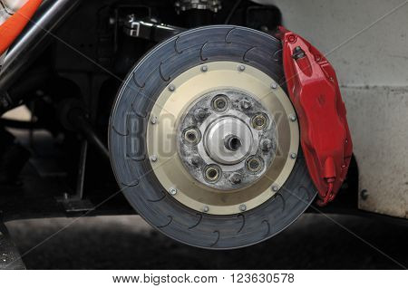 Race car brakes: disk, pads and calipers.