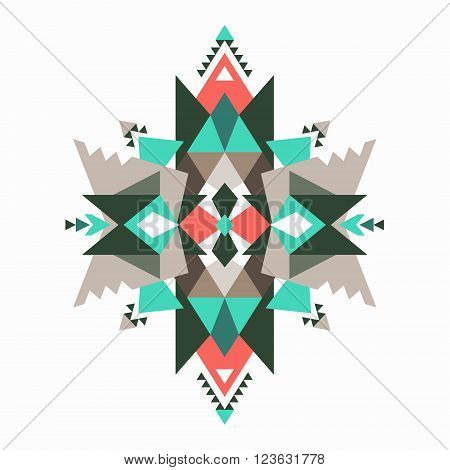 Tribal colorful geometric design element. Vector illustration isolated on white background