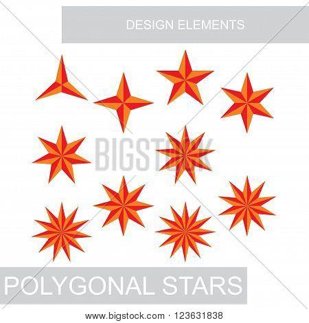 set of polygonal stars for design, vector illustration