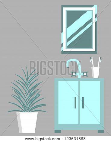 Set of bathroom elements. Bathroom equipment. Washbasin, mirror. Bathroom design in flat style. Vector illustration.