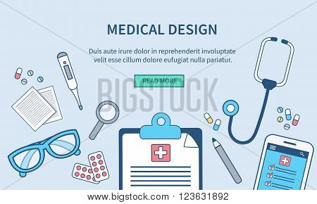 Vector medical web banner template. Doctor's office. Concept medical illustration in modern line style for web banner and backgrounds.