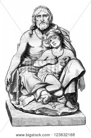 Calabrian peasant and his sick son marble group, vintage engraved illustration. Magasin Pittoresque 1870.