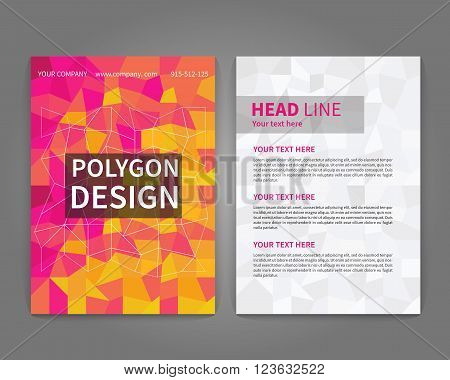 Colorful polygonal flyer template. Design template for annual report flyer cover design brochure design. Vector illustration.
