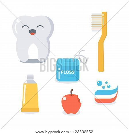 Vector cartoon tooth and hygiene products for teeth care. Cute flat illustration. Dental care concept.