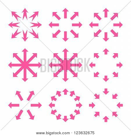 Maximize Arrows vector icon set. Collection style is pink flat symbols on a white background.