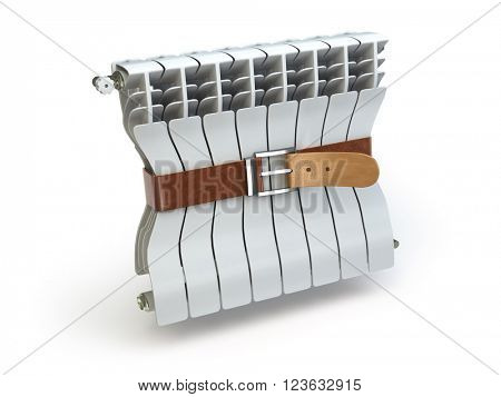 Heating radiator with belt. House energy  efficiency  heat and energy saving concept. Heating radiator isolated on white. 3d