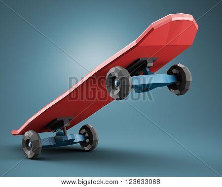 Low polygonal skateboard on dark blue background