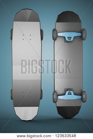 Two black low polygonal skateboards on dark blue background