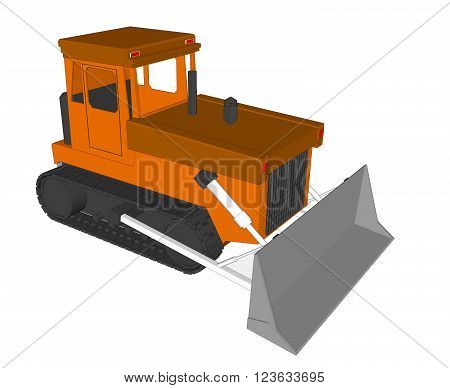 Vector Farm Tractor with bucket on white background 1