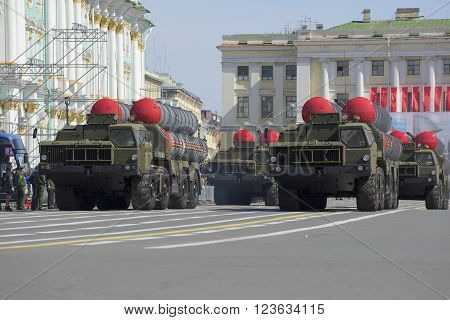 ST. PETERSBURG, RUSSIA - MAY 05, 2015: A convoy of rocket launchers S-300PM in the march on the Palace square. Rehearsal of parade in honor of Victory Day