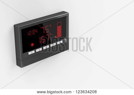 Central water heater control panel on gray wall, 3D Rendering