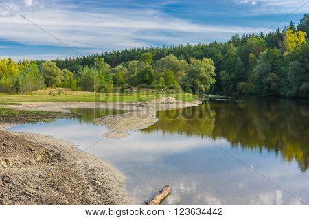Sesonal landscape with Vorskla river in central Ukraine