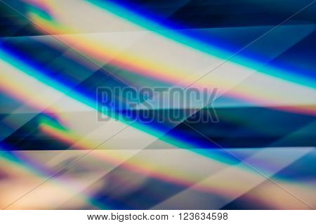 Abstract blue light pattern created by glass