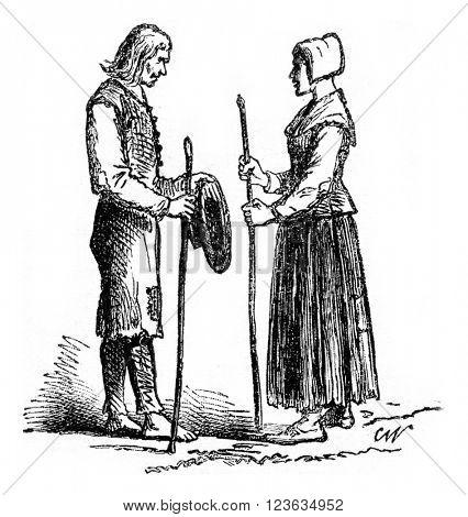 Beggars, vintage engraved illustration. Magasin Pittoresque 1869.