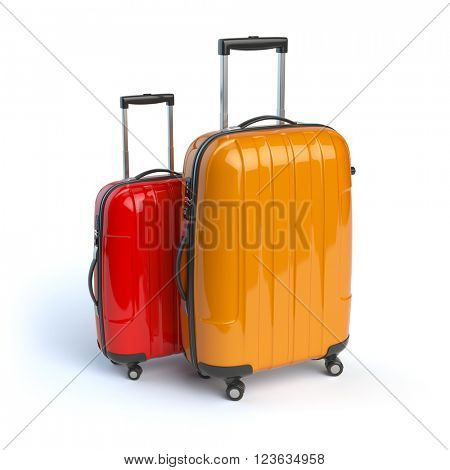 Luggage. Two baggage suitcases  isolated on white. 3d