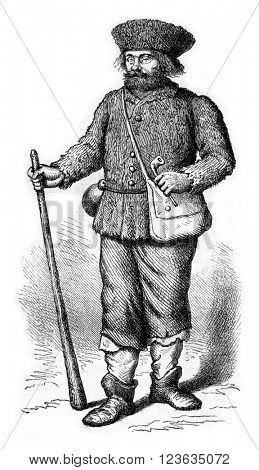 Livonian Guide of Charles XII, 1700, vintage engraved illustration. Magasin Pittoresque 1869.