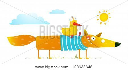 Bird and wild fox friendship. Animal character, creature mammal in nature, vector illustration