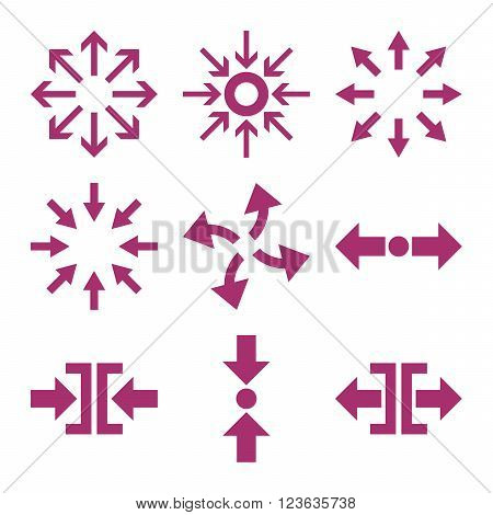 Compress and Explode Arrows vector icon set. Collection style is purple flat symbols on a white background.