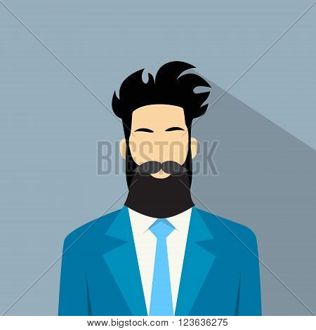 Business Man Profile Icon Male Avatar Hipster Style Fashion Cartoon Guy Beard Portrait Casual Businessman Person Face Flat Design Vector Illustration