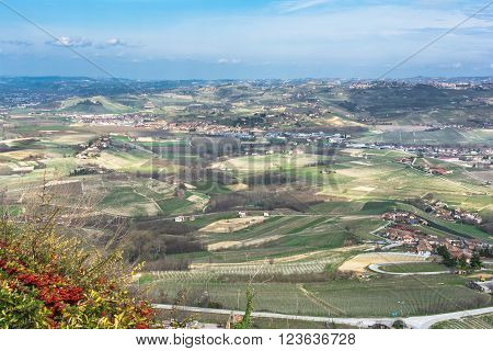 Panoramic view of the Langhe, Italy