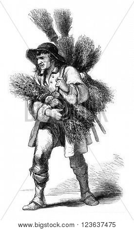 The Merchant of brooms, 1774, vintage engraved illustration. Magasin Pittoresque 1869.
